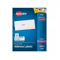 Avery 5160 Easy Peel  White Address Labels for Laser Printers  1 x 2-5/8  Box of 3000