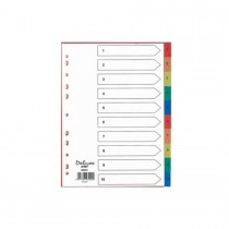 Deluxe Divider Plastic Colored A4 with numbers 1-10