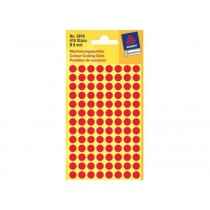 Avery Marking Labels, Dots, 8 mm, Red, 416/pack