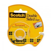 "3M 136 Scotch Double Sided Tape with Dispenser, 1/2"" x 250"