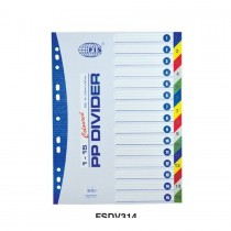 FIS Divider Plastic Colored A4 With Numbers 1-15