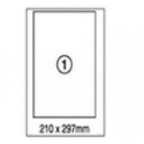 xel-lent 1 label/sheet, straight corners, A4, 210 x 297 mm, 100 sheets/pack