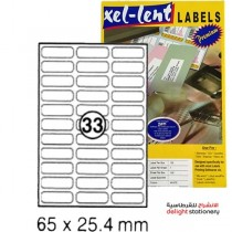 xel-lent 33 labels/sheet, rounded corners, 65 x 25.4 mm, 100 sheets/pack