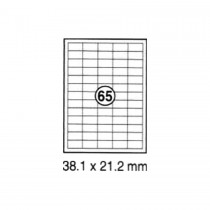 xel-lent 65 labels/sheet, straight corners, 38.1 x 21.2 mm, 100sheets/pack