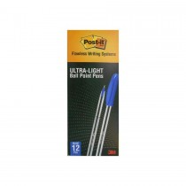 3M Post-It Ultra-Light Ball Point Pens 0.7mm  Blue  1X12/Pack