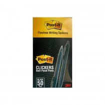 3M Post-It Clickers Retractable Ball Point Pens 0.7mm  Black 1X50/Pack