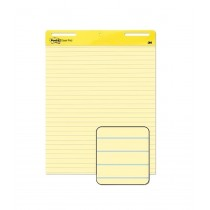 3M Self-Stick Easel Pad, Line Ruled Yellow, 25 x 30 in