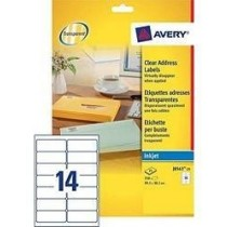 Avery J-8563-25 Clear Address Labels With Quick Peel, Inkjet, Permanent, 99.1 X 38.1m 14Labels/Sheet, 25Sheets/Pack