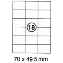 xel-lent 18 labels/sheet, straight corners, 70 x 49.5 mm, 100sheets/pack