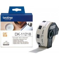 Brother DK-11218 Label Roll – Black on White, 24mm Round Labels