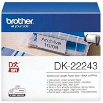 Brother DK-22243 Continuous Paper Label Roll – Black on White, 102mm Wide
