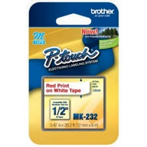 Brother MK 232 12mm Red on White MK Tape