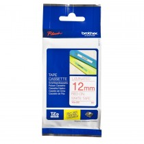 Brother Tze-232 Red on White 12mm Laminated Tape