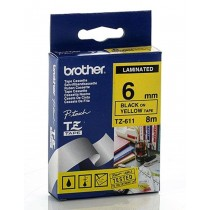 Brother Tze S611 6mm Black on Yellow Strong Adhesive Tape