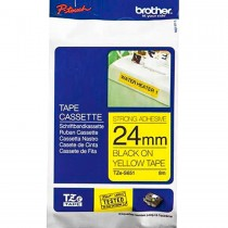 Brother Tze S651 24mm Black on Yellow Strong Adhesive Tape