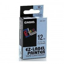 Casio XR-12X1 Tape Cassette, 12mm X 8mm, Black on Clear