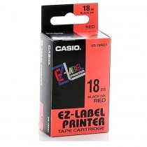 Casio XR-18RD1 Tape Cassette, 18mm X 8mm, Black on Red