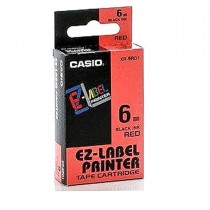 Casio XR-6RD1 Tape Cassette, 6mm X 8mm, Black on Red