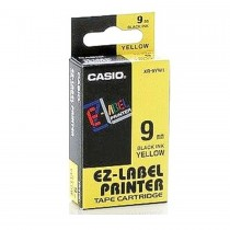 Casio XR-9YW1 Tape Cassette, 9mm X 8mm, Black on Yellow