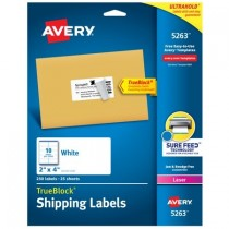 """Avery TrueBlock Shipping Labels, Sure FeedTM Technology, Permanent Adhesive, 2"""" x 4"""", 1,000 Labels (5163)"""