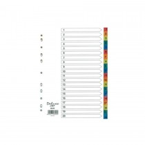 Deluxe Divider Plastic Colored A4 with numbers 1-20