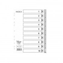 Deluxe Divider Plastic PVC Grey A4 with numbers 1-10