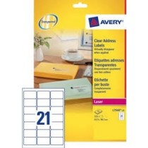 Avery Clear Addressing Label, 63.5 x 38.1mm 25Sheets/Pack - 7560