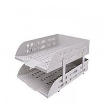 DELI 2 Tier Plastic Document Tray Grey
