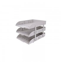 DELI 3 Tier Plastic Document Tray Grey
