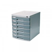 Deli 6 Drawer Cabinet with Lock  Grey