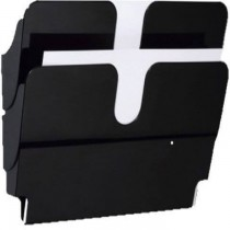 Durable FLEXIPLUS 2 A4 landscape  wall mounted Brochure Holder  2 Tier  Black