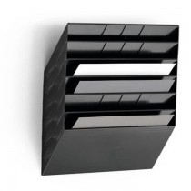 Durable FLEXIBOX 6 A4 Landscape  Wall Mounted Brochure Holder  6 Tier  Black
