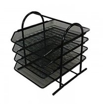 Deluxe Metal Mesh 4 Tier Document Tray  Black