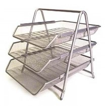 Deluxe Metal Mesh 3 Tier Document Tray Silver