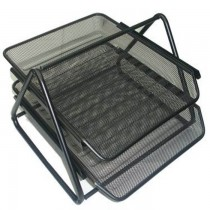 Deluxe Metal Mesh 2 Tier Document Tray Black
