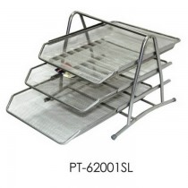 Partner Metal Mesh 3 Tier Document Tray Silver