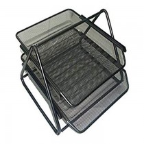 Partner Metal Mesh 2 Tier Document Tray  Black