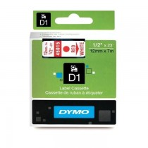 Dymo 45015, D1 Tape,12mm x 7m, Red on White