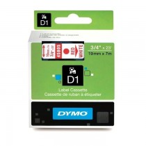 Dymo 45805, D1 Tape,19mm x 7m, Red on White