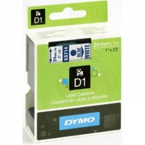 Dymo 53714, D1 Tape, 24mm x 7m, Blue on White
