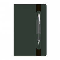 Executive Italian PU Notebook with Pen & Elastic Band Ruled 13x21cm Black