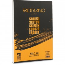 Fabriano Sketch Paper Pads, A3, 90Gsm, 100 Sheets/Pack