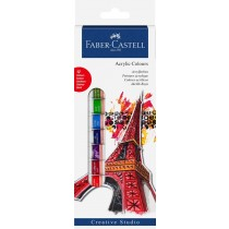 Faber Castell FC169501 Acrylic Paint Starter Kit, Assorted (Box of 12)