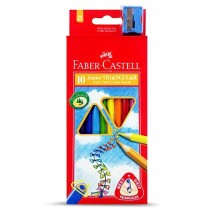 Faber Castell FCI16116538/10 Juniour Triangular Color Pencil, Assorted (Pack of 10)