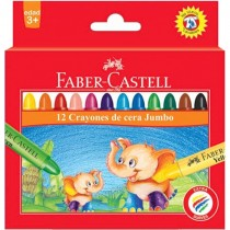 Faber Castell FCIN120040 Jumbo Wax Crayon - Round, Assorted (Pack of 12)