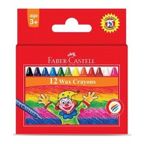 Faber Castell FCIN120052 Slim Wax Crayon - Round, Assorted (Pack of 12)