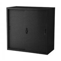 REXEL LOW HEIGHT CUPBOARD SLIDING STEEL WITH 1 ADJUSTABLE SHELF, RXL102SS (BLACK)