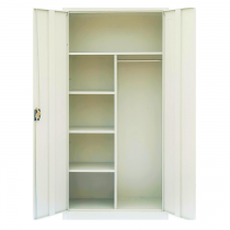 REXEL FULL HEIGHT DOMESTIC CUPBOARD SWING DOOR SHELVES WITH HANGING ROD, RXL110SW (OFF WHITE)