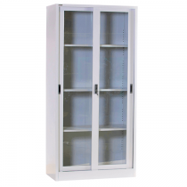 REXEL FULL HEIGHT CUPBOARD SLIDING GLASS WITH 3 ADJUSTABLE SHELVES, RXL101SG (OFF WHITE)