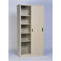 REXEL FULL HEIGHT CUPBOARD SLIDING STEEL WITH 3 ADJUSTABLE SHELVES, RXL101SS (BEIGE)